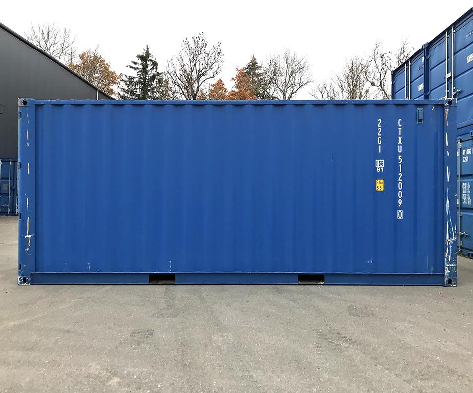 Container maritime occasion premium bleu (RAL 5010)